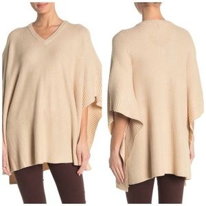 14th & Union knit Poncho V-neck Beige One Size